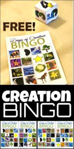 Kids will have fun practicing identifying the days of creation with this fun, free printable Creation BINGO game. This Bible game is perfect for homeschool families and Sunday school lessons for Preschool, Pre k, Kindergarten, first grade, 2nd grade, and 3rd grade students.