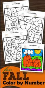 Free Fall Color by Number Worksheets