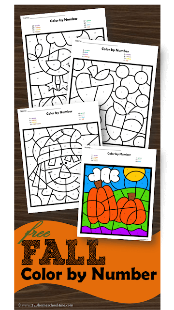 Kids will have fun practicing identifying numbers 1-20 with these super cute, free printable Fall Color by Number worksheets for toddler, preschool, pre-k, kindergarten, and first grade. As students work on number recognition for numbers to 20, they will color the spaces to reveal a hidden picture showing a fun autumn scene with apples, pumpkins, leaves, scarecrows, etc.