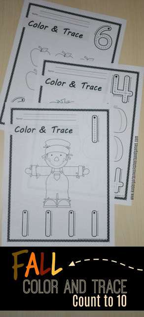 FREE Fall Color and Trace practice for toddler, preschool, prek, and kindergarten children as they count to 10. Perfect fall activity, fall lesson plan, math center, home preschool, homeschool, or extra practice