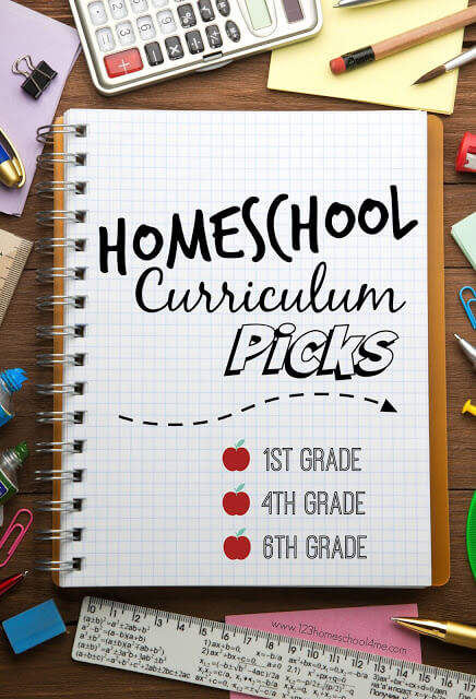 Homeschool Curriculum Picks - take a peak at a homeschooling families curriculum choices for first grade, 4th grade, 6th grade, plus lots of other handy resources for all grades