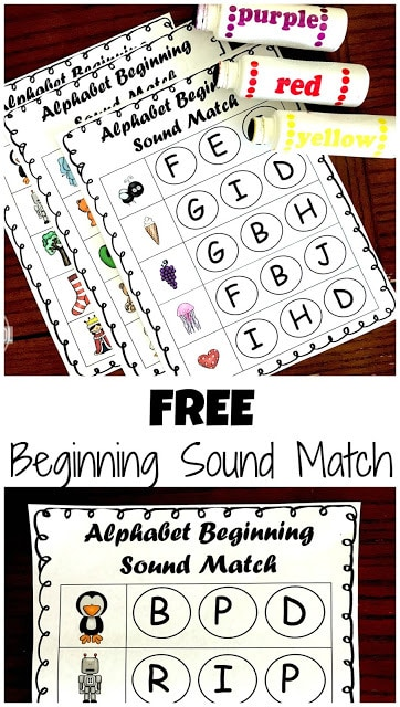 These free printable Phonics Beginning Sounds Do a Dot Printables are a perfect way for preschool, pre k, and Kindergarten students to practice finding letters that match the initial sound of the cute clipart pictured. Children will love that they can use do a dot markers to practice phonemic awareness and phonics skills!