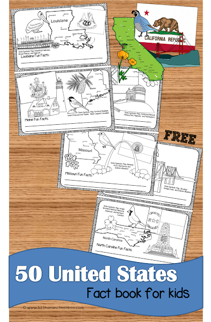 FREE 50 States Coloring Book - kids will have learning about the United States as they color each states map, state flag, state landmark, state bird, and state flower in these free printable state worksheets. Perfect for social studies or summer roadtrips! #50states #unitedstates #coloringpages