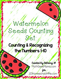 FREE Printable Watermelon Seeds Counting Set, Numbers 1-10, Count to 10