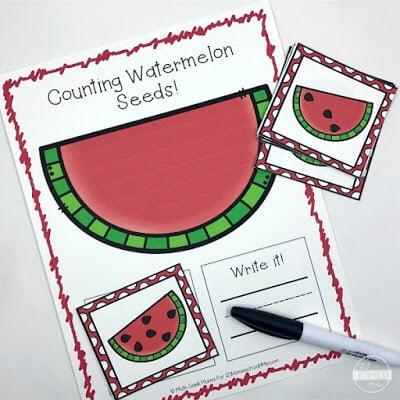 Counting Watermelon Seeds Math Activity for preschool, prek, kindergarten, first grade