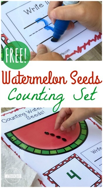 FREE Counting Watermelon Seeds - This is such a cute, free printable Math Activity for preschool, prek, and kindergarten. Perfect summer learning activity for w summer watermelon theme to practice writing and counting numbers 1-10, #counting #preschool #kindergarten