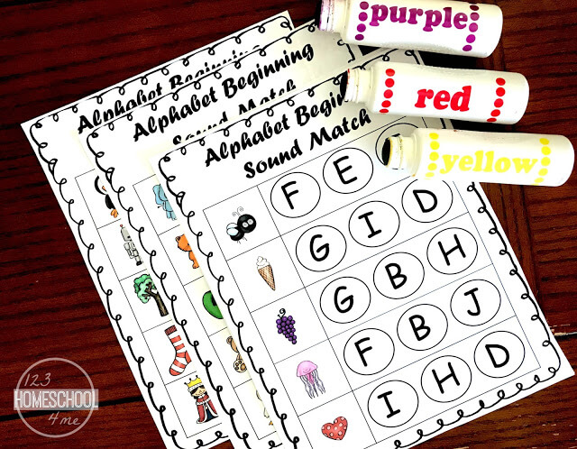 alphabet beginning sound match free printable rectangle