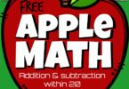 Fun apple math for pre k, kindergarten, 1st grade and 2nd grade students. Download and print pdf file to practice adding and subtracting within 20