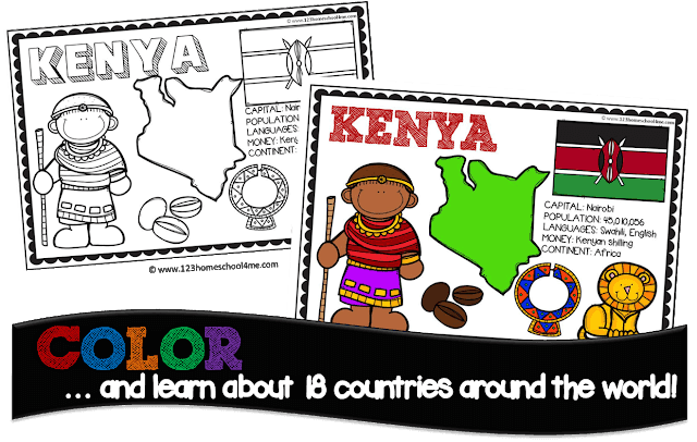 country coloring pages for kids from prek, kindergarten, 1st grade, 2nd grdae, 3rd grade to learn about geography