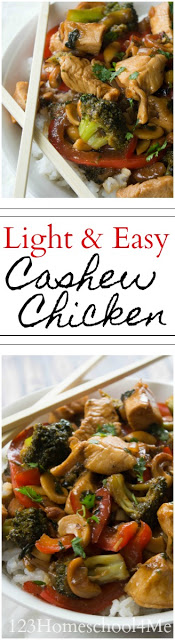 Thiscashew chicken is a yummy recipe to make homemade Chinese food. Making chinese food from scratch not only helps eliminate MSG for those of us who have an averstion to it, but also allows us to control the ingredients better to eat quality, nutritious ingredients. Thiscashew chicken recipeis super easy to make, light and healthy too! My family loves the cashew chicken sauce and I love the extra protein in thechicken with cashew nuts.