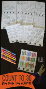 Bug counting to 30 worksheets