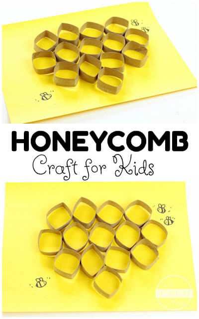 Honeycomb Craft - love this super cute 3D honeycomb craft for kids to learn about bees or celebrate National Honey Month, spring craft, or summer craft for kids toddler, preschool, prek, kindergarten, first grade. #bees #craftsforkids