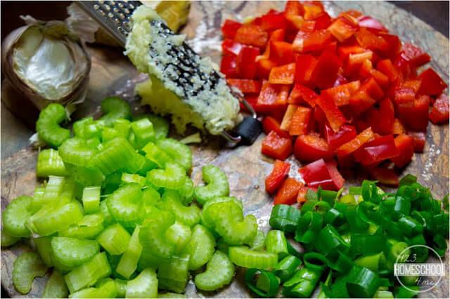 pepper, celery, green onions, and garlic recipe