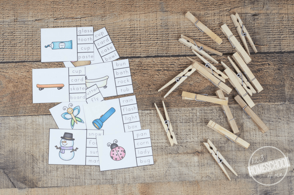 print off free compound word clip cards and gather clothes pins