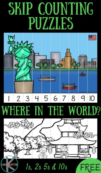 FREE Famous Landmarks Skip Counting Puzzles - these are such a fun theme for a around the world unit for preschool, kindergarten, and first grade to practice counting by 1s, counting by 2s, counting by 5s, and counting by 10s. What a great idea for a math center, geography extension, homework, homeschool, or summer learning.