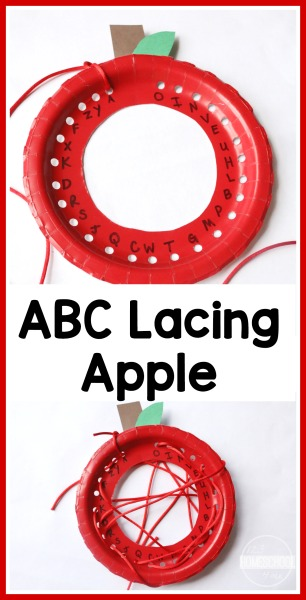 ABC Lacing Plates Activity - this is such a fun, clever fall apple activity for kids to practice their alphabet while making a cute apple craft for preschool, prek, and kindergarten age kids #apple #alphabet #kindergarten