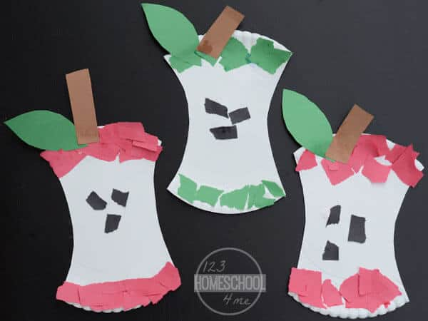 super cute, easy and fun to make Apple Crafts for Preschoolers using a paper plate and construction paper