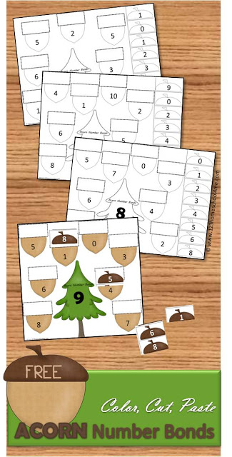 Kids will have fun practicing adding numbers 1-10 to form number bonds with these free printable Acorn Cut and Paste Math Worksheets for Kindergarten, first grade, and 2nd grade students. Kid need lots of math practicing making 10, these free addition worksheets are a great way to practice with a fall themed activity.