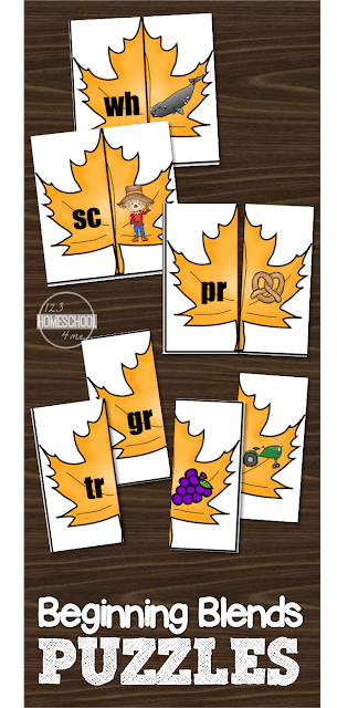 FREE Beginning Blends Puzzles with a fun fall theme to make this a fun learning activity for PreK, Kindergarten, 1st grade, and 2nd grade
