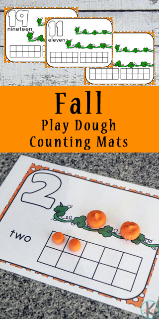 Free Fall Playdough Count to 20 Mat with ten frame