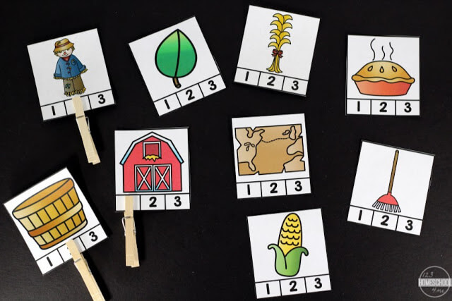 fall syllable practice for kindergarten, first grade, 2nd grade, 3rd grade
