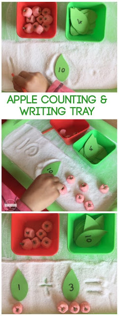 Apple Counting, Addition, and Writing Tray - This is a fun, hands-on preschool math activity perfect for September. Can adapt the math activity for kindergarten, first grade, or 2nd grade kids #apple #addition #preschool