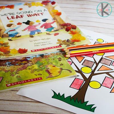 Free Fall Shape Worksheet for preschool, prek, kindergarten