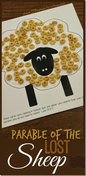 Parable of the Lost Sheep Craft and Parable of the lost coin Game for Sunday School Lessons; fun bible craft for kids of all ages. Plus this cereal sheep craft is such a great fine motor skills activity for toddler, preschool, and kindergarten age kids #biblecraft #craftsforkids #sundayschool