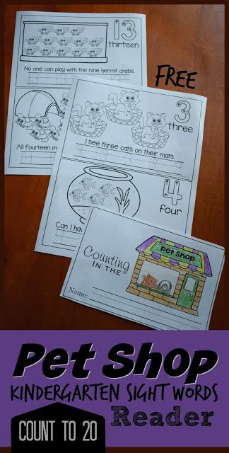 FREE Pet Shop Kindergarten Sight Words reader