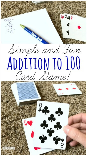 Kids will have a blast practicing adding to 100 with this simple and fun Addition to 100 Card Game! The concept in this addition math game is simple, but adding a deck of cards makes it extra fun! Playing this card game is great addition practice for first grade, 2nd grade, 3rd grade, and 4th grade students! So ditch the boring addition math worksheets and try this engaging addition activity.