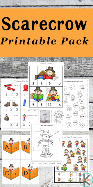 Free Scarecrow Printable Pack with counting, color words, alphabet, labeling, adding, subtracting, syllable counting, and so much more for preschool, prek, kindergarten, first grade