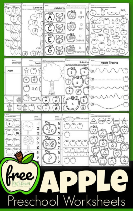 FREE Apple Preschool Worksheets