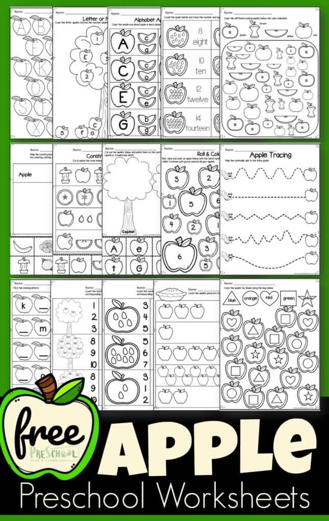 FREE Apple Preschool Worksheets