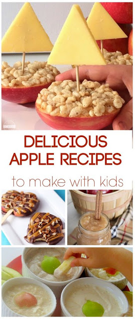 31 Apple Recipes for Kids - so many yummy fall recipes including apple breakfast recipes, apple snack recipes, apples for dinner, apple lunch recipes,and so much more. Yummy! #yummy #apple #recipes