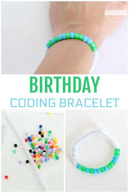 Coding doesn't have to be complicated rows and rows of numers on a computer screen! Make coding fun for kids as they make a fun coding craft to learn moare about Coding for Kids. This project allows kids to make a coding bracelet that celebrates their birthday! This is such a fun concept to take the scary part out of coding and give you a really fun coding activity for kids! Use this coding projects for kidsof all ages from preschool, pre-k, kindergargarten to first grade, 2nd grade, and 3rd grade students too!