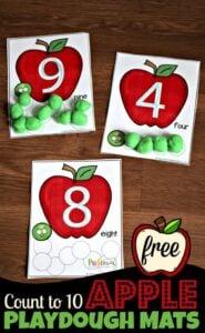 Coutn to 10 Apple Playdough Mats