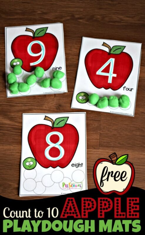 Coutn to 10 Apple Playdough Mats