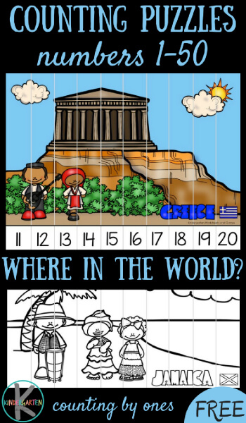 FREE Count to 50 with these cure Around the World Puzzles - kindergarten math
