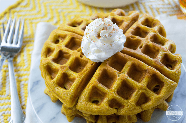 Easy Pumpkin Recipe for delicious waffles with a fun fall twist