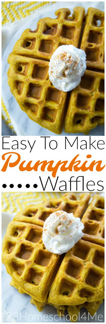 Easy to Make Pumpkin Waffles!! This is one of our favorite pumpkin recipes, perfect for fall. You will love how easy this breakfast recipe is to make, plus it's healthy too! #recipes #pumpkin #yummy