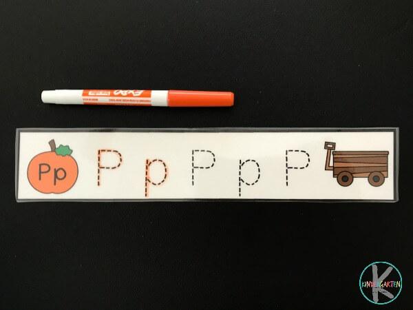 letter tracing to help kids practice making alphabet letters in October in preschool, prek, kindergarten, first grade