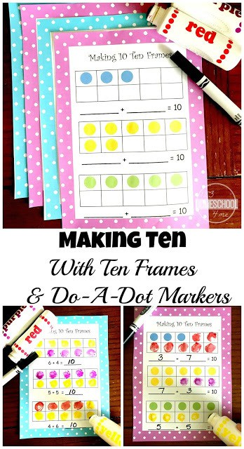 FREE Making 10 Practice with Ten Frames - make 10 fun and easy for prek, kindergarten, and first grade kids to grasp with these free printable ten frames worksheets #tenframes #kindergarten #making10