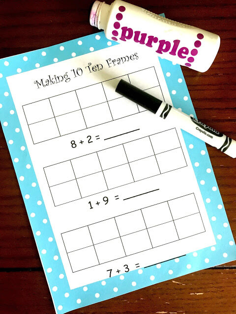 making 10 ten frames free printable with do a dot markers / bingo markers