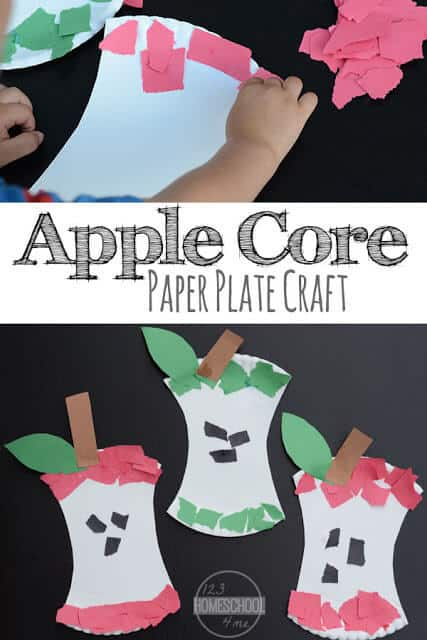 Kids will have fun celebrating September with this super cute and easy apple craft for toddlers, preschoolers, and kindergartners. This paper plate apple core craft helps improve fine motor skills and makes a fun activity for an apple theme.