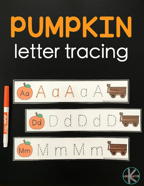 FREE Pumpkin Letter Tracing - these alphabet tracing strips are perfect to help preschool, prek, kindergarten, and first grade kids practice making alphabet letters with a fun fall / october theme. (Write & Wipe)