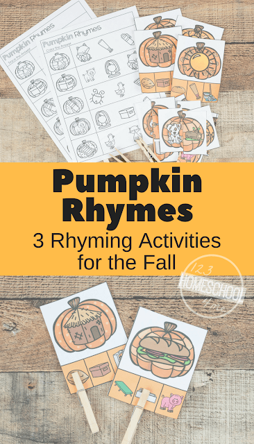 FREE Pumpkin Rhyming Words - clip cards, rhyming worksheets, and more to make practicing rhyming with kindergarten, first grade, and 2nd grade fun. (fall centers, homeschool)
