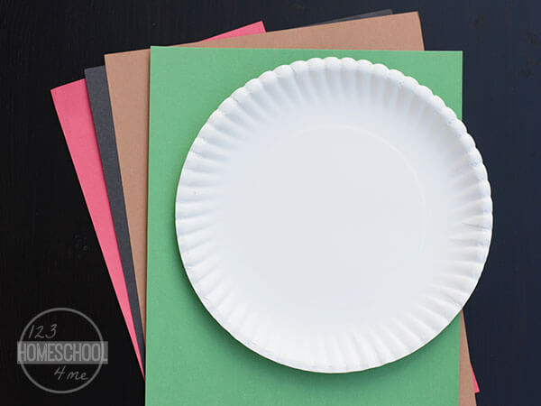 red green brown constitution paper and paper plate