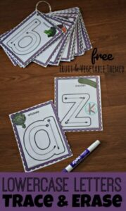 lowercase letters vegetable and fruit printables