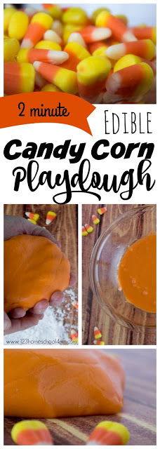 2 minute, EDIBLE Candy Corn Playdough Recipe - this candy corn craft is made from an easy candy corn recipe to make homemade playdough from halloween candy - Candy Corn! This candy corn activities us a playdough recipe without cream of tartar, is easy, edible, and uses only 2 ingredients! Perfect fall activity for kids from toddler, preschool, kindergarten, first grade, 2nd grade