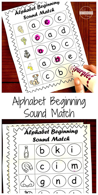 Kids will have fun practicing identifying alphabet letters and their sounds with these FREE Beginning Sounds Worksheets using do a dot markers! These are perfect for preschool and kindergartners working on phonics.